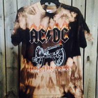 Bleached, tie dyed ACDC size Medium shirt unisex