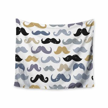 """Daisy Beatrice """"MUSTACHES - SLATE BLUE-GOLD"""" Blue Tan Pattern Modern Vector Illustration Wall Tapestry"""