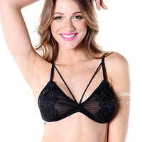 Black Strappy Crochet Bralet
