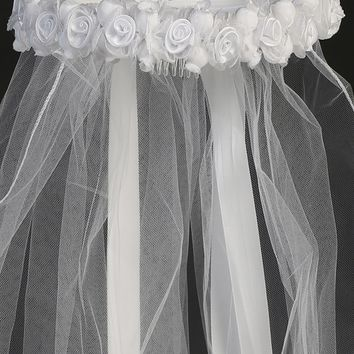 Girls White Communion Veil with Satin & Organza Rosette Crown