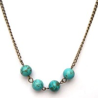 Antiqued Brass Green Turquoise Round Bead Necklace by gemandmetal