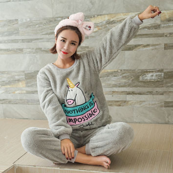 Adult Women kawaii Unicorn Flannel Pajama Suit Sets Cartoon Animal Thick Bundle Plush Pijama Costume Nightgown Sleepsuit Pink