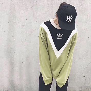 ''adidas'' Round Neck Blouse Pullover Black/Green