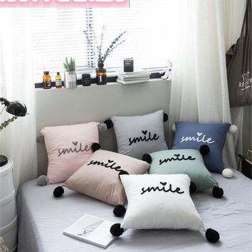 Wool embroidery Smile Cushion Pillow Nordic Kids Room Decor Girl Stuffed Decorative Toys Photo Props