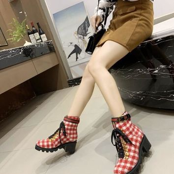 """GUCCI 2020 latest Trending Women """"Monogram Empriente"""" Leather Zipper lace up Ankle Short Boots Flats High Heels Shoes Winter Autumn white red"""