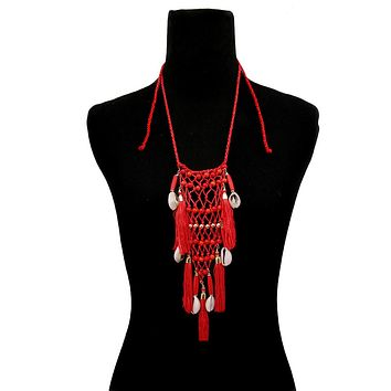 Red Braided String and Cowrie Shell Long Tassel Necklace