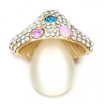 Gold Layered Basic Brooche, with Opal and Crystal, Golden Tone