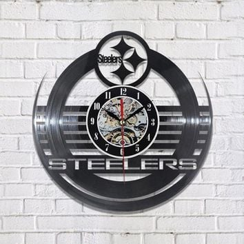 Antique Hollow Style Round CD Record Clock NFL PITTSBURGH STEELERS Vinyl Wall Clock Creative Personalised Wall Clock