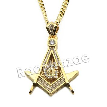 "Mens Iced Out Brass Masonic Gold Freemason Charm w/ 5mm 24"" 30"" Cuban Chain A01"