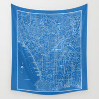 Los Angeles Street Map Wall Tapestry by Catherine Holcombe