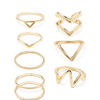 Chevron Midi Ring Set