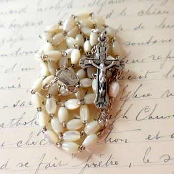 Antique Art Deco Mother Of Pearl And Silver Rosary, Shipping Included