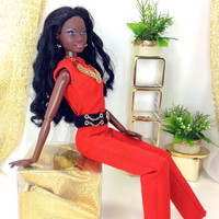 Barbie Doll Clothes - Barbie Doll Jumpsuit, Earrings, Necklace, Designer Belt, and Redesigned Shoes