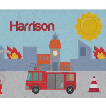 Fire House Personalized Activity Rug