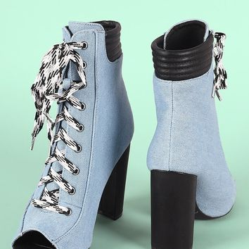 Denim Peep Toe Lace Up Chunky Heeled Booties