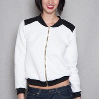 LA Banga Love Gold Sequin Applique Quilted Bomber Jacket - White