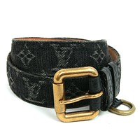 Louis Vuitton Monogram Denim Ceinture Belt Size 90 Black M6972 Authentic #2289