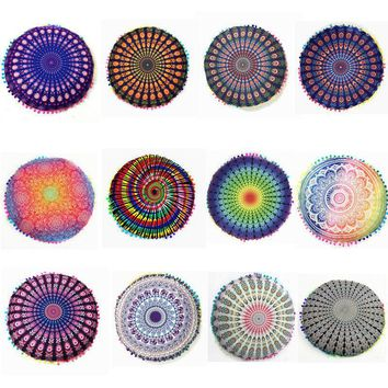 Round Mandala Floor Pillow case Round Bohemian Meditation Cover Ottoman Pouf pillow case