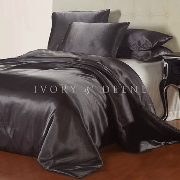 Luxury Charcoal Dark Grey Satin Doona Cover