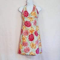 Short SUNDRESS, Cotton Floral Print Halter, Size Medium, Summer Dress, Tommy Hilfiger, GW-1002