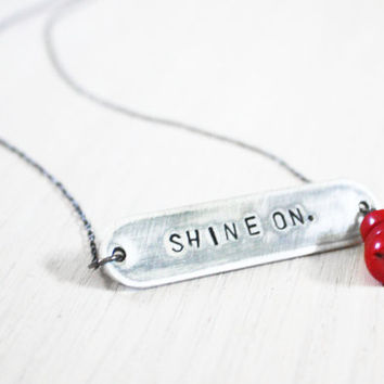 Shine On Necklace - graduate inspirational vintage coral red bead stamped charm on sterling silver chain - hand-stamped jewelry