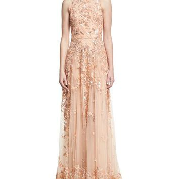 Zuhair Murad Beaded Tulle High-Neck Sleeveless Gown, Pink