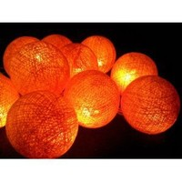 I Love Handicraft Orange Color Set Cotton Ball String Lights Patio Wedding and Party Decoration (20 Balls/set)
