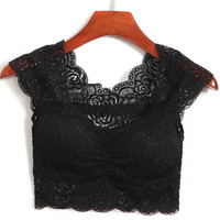 Black Sleeveless Soft Padded Crop Top