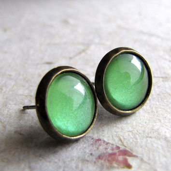 Tiny Studs - Spring Green Antiqued Brass Post Earrings - 4 Sizes Available!