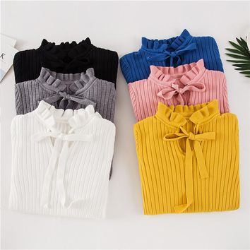 Casual Women Slim Sweater Winter Knitted Sweater Lace Up Flare Long Sleeve Ruffle Knitting Pullover Womens Sweaters