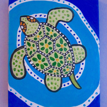 GREEN SEA TURTLE - acrylic painting on canvas, whimsical art for home and office