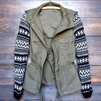olive cargo jacket with tribal pattern knit sleeves
