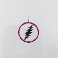 Grateful Dead, Sterling Silver Round 13 Point Bolt Pendant with Rubies