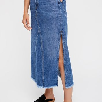 Free People Walk in the Park Denim Midi Skirt