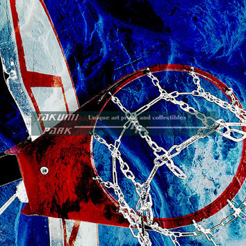 Closeup Basketball Art Print, Basketball Girlfriend Gift Idea, Wall Art Print, Colorful Basketball Coach Gift Idea, Sports Bar Art Print