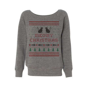 Meowy Christmas Wideneck Sweatshirt