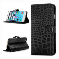 Crocodile Leather Wallet Cover Phone Case for iPhone 6 with Credit Card Holder (Color: Black) = 1843145924