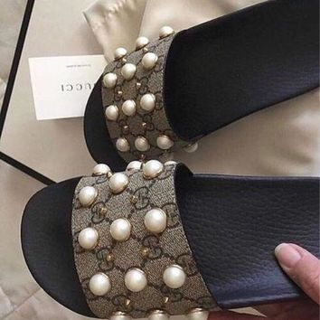 Gucci Trending Fashion Casual Women Pearl Print Sandal Slipper Shoes Brown G