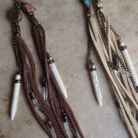 indian summer .... deerskin lace, quartz crystal and white turquoise talisman tassel earrings