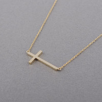 Sterling Silver Sideways Cross Necklace In Gold