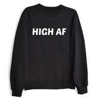 HIGH AF Women's Casual Black Gray & White Crewneck Sweatshirt