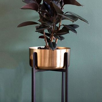 "Dash Metal Plant Stand with Gold Flower Pot - 11.75"" Tall x 9.5"" Wide"