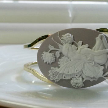 Lilac Fairy Cameo Bracelet - hinged bangle bracelet