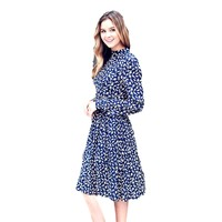 High Neck Floral Midi Dress, Navy