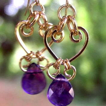 Gold Chandelier Earrings | Amethyst Purple Crystal Chandelier Earrings