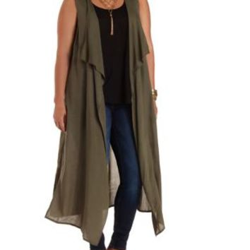 Plus Size Olive Cascade Duster Vest by Charlotte Russe