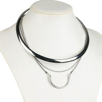 Silver Semicircle Pendant Multilayer Choker Necklace