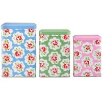 Cath Kidston - Set of 3 Provence Rose Tin Canisters