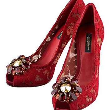 DOLCE & GABBANA Red Laced Embellished Pumps Heels Shoes 7.5 US 37.5 EU
