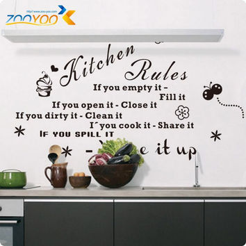 'Kitchen Rules' Kitchen Quote Black Vinyl Wall Decals Original Design  Wall Stickers Home Decor ZooYoo8159 SM6